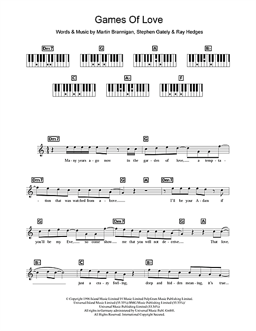 Boyzone Games Of Love sheet music notes and chords. Download Printable PDF.