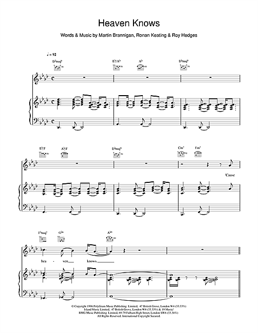Boyzone Heaven Knows sheet music notes and chords