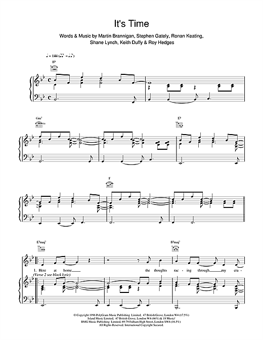 Boyzone Its Time sheet music notes and chords. Download Printable PDF.