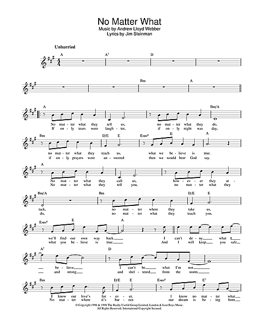 Boyzone No Matter What (from Whistle Down The Wind) sheet music notes and chords. Download Printable PDF.
