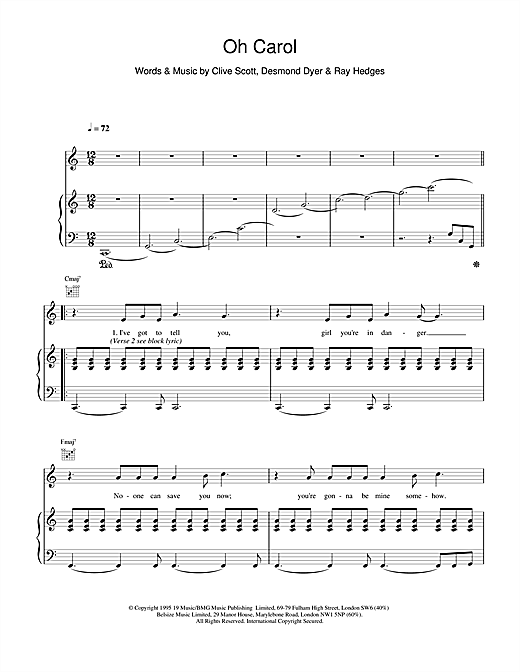 Boyzone Oh Carol sheet music notes and chords. Download Printable PDF.