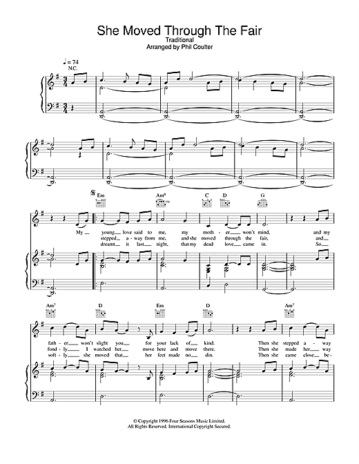 Boyzone She Moved Through The Fair sheet music notes and chords. Download Printable PDF.