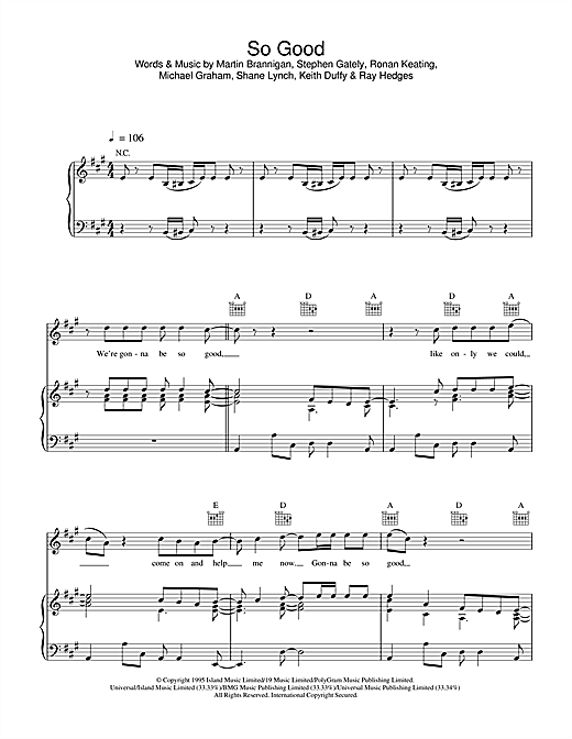 Boyzone So Good sheet music notes and chords. Download Printable PDF.