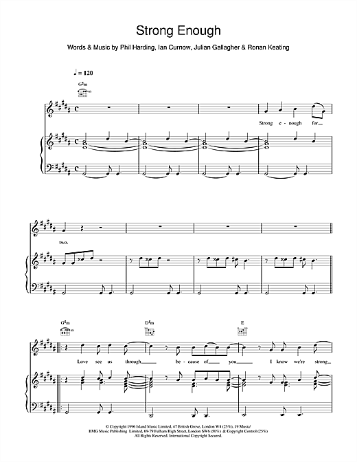 Boyzone Strong Enough sheet music notes and chords. Download Printable PDF.
