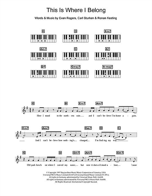 Boyzone This Is Where I Belong sheet music notes and chords. Download Printable PDF.