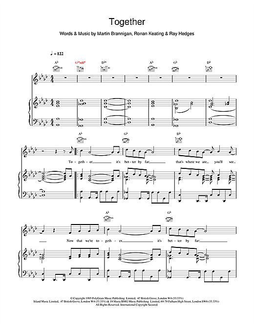 Boyzone Together sheet music notes and chords