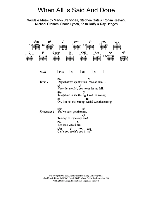 Boyzone When All Is Said And Done sheet music notes and chords. Download Printable PDF.