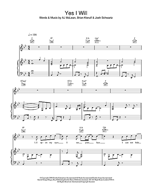 Boyzone Yes I Will sheet music notes and chords