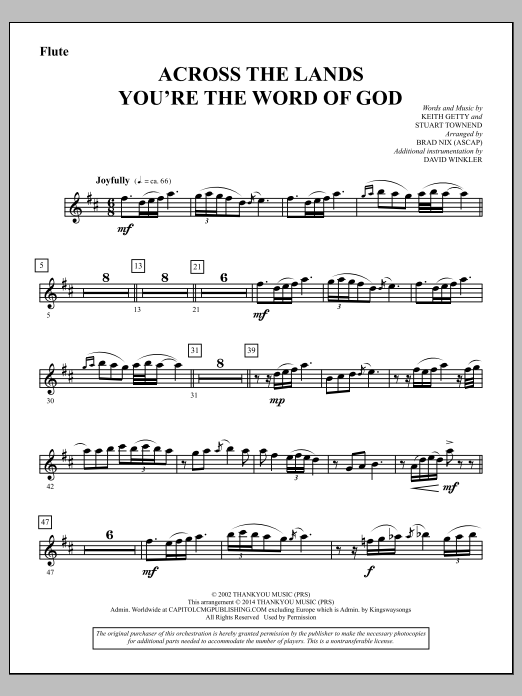 Brad Nix Across the Lands You're the Word of God - Flute sheet music notes and chords. Download Printable PDF.