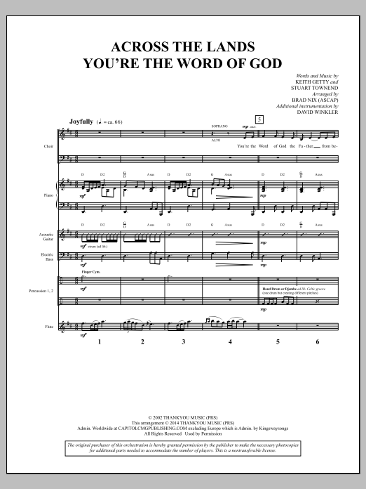 Brad Nix Across the Lands You're the Word of God - Full Score sheet music notes and chords. Download Printable PDF.