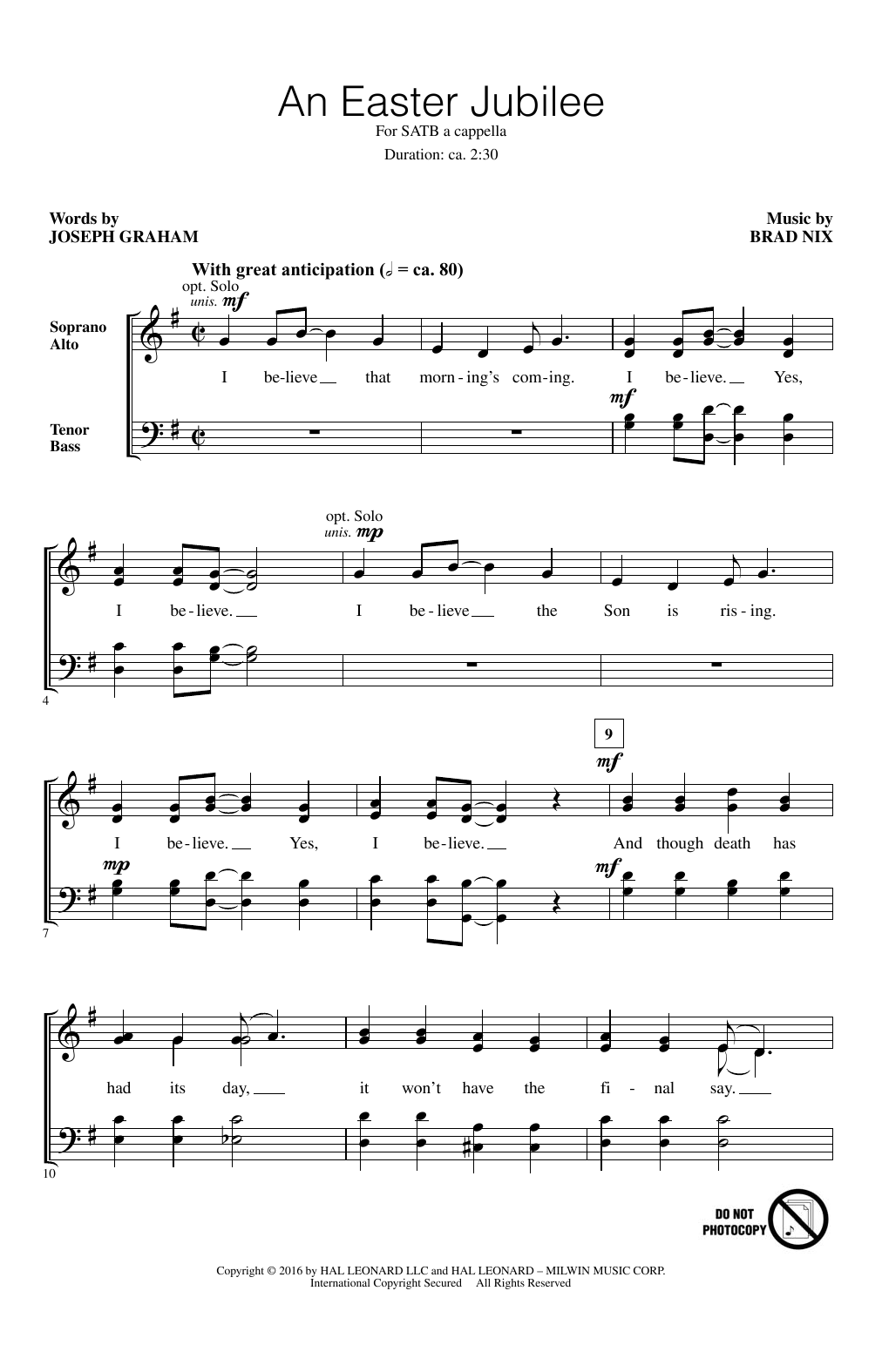 Brad Nix An Easter Jubilee sheet music notes and chords. Download Printable PDF.