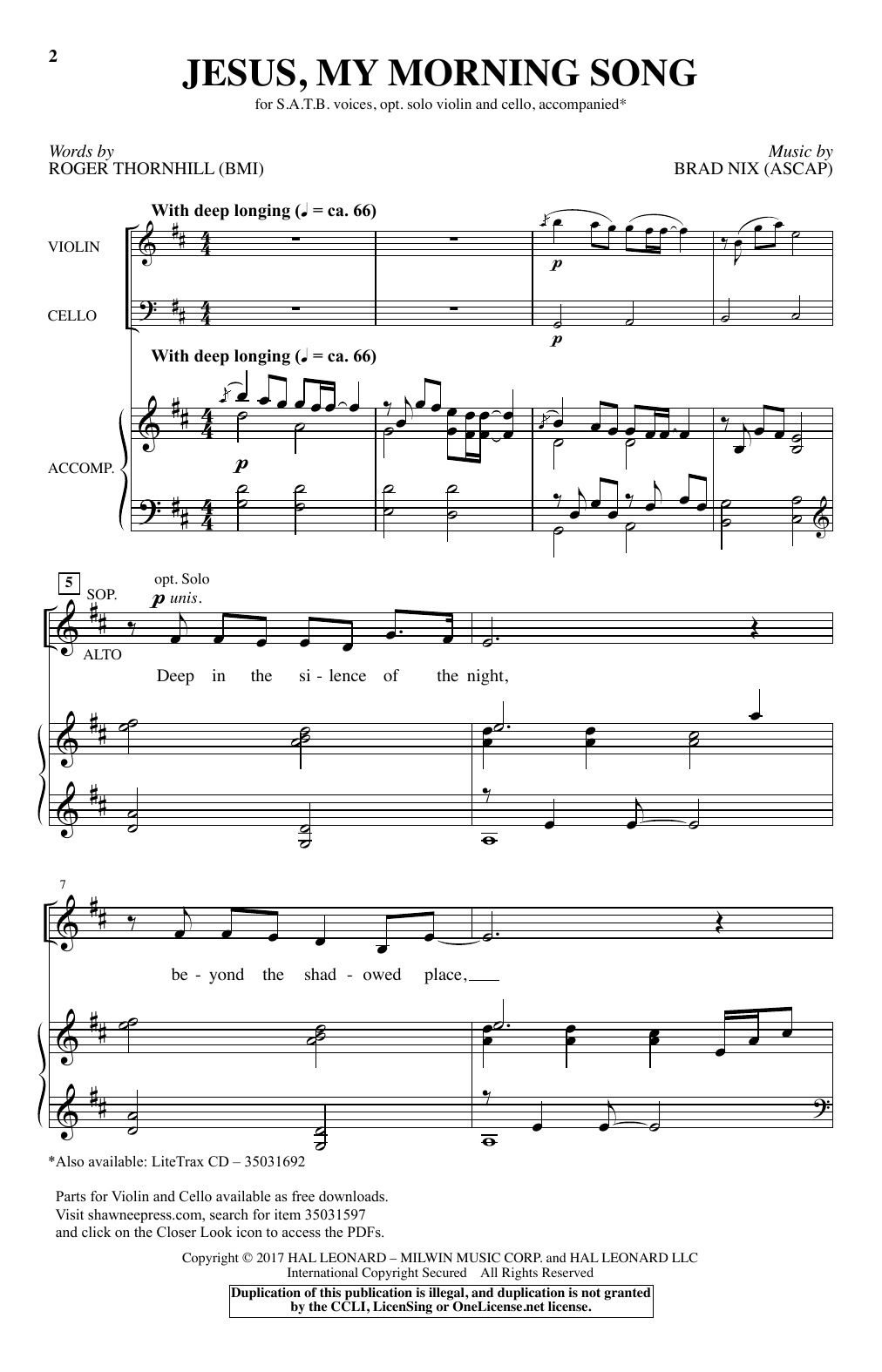 Brad Nix Jesus, My Morning Song sheet music notes and chords. Download Printable PDF.