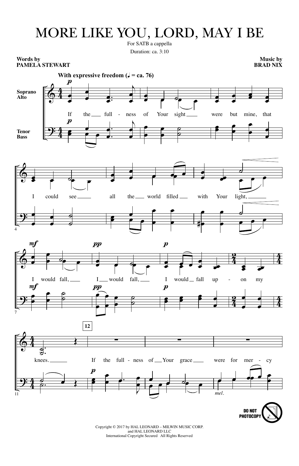 Brad Nix More Like You, Lord, May I Be sheet music notes and chords. Download Printable PDF.