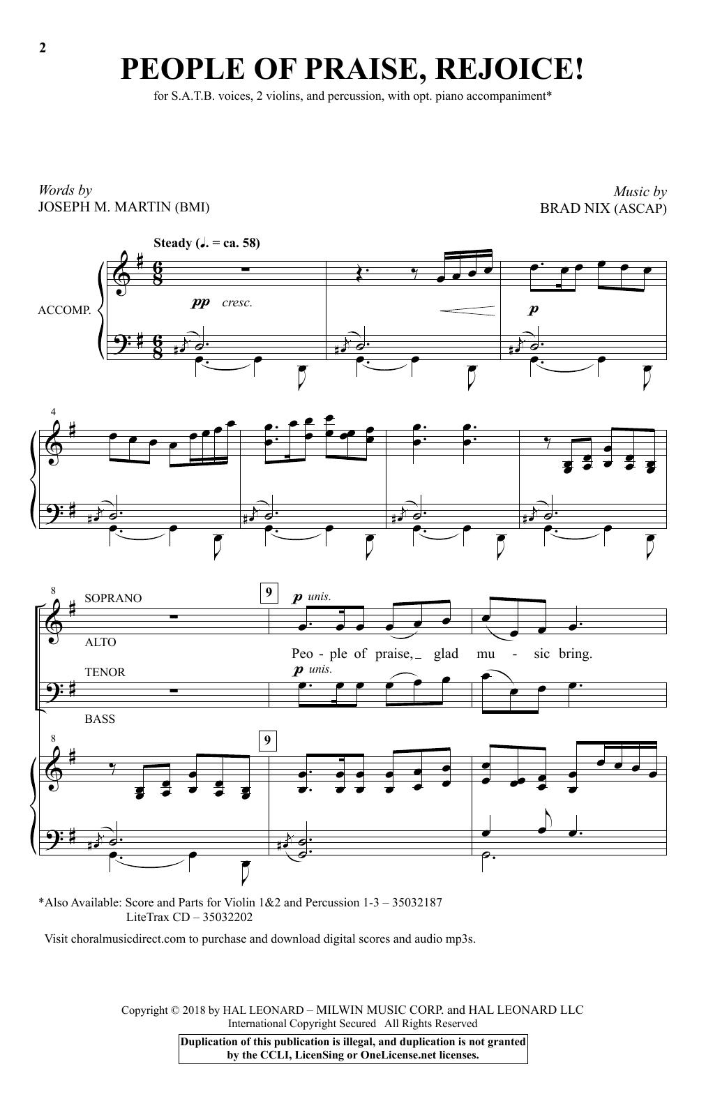 Brad Nix People Of Praise, Rejoice! sheet music notes and chords. Download Printable PDF.