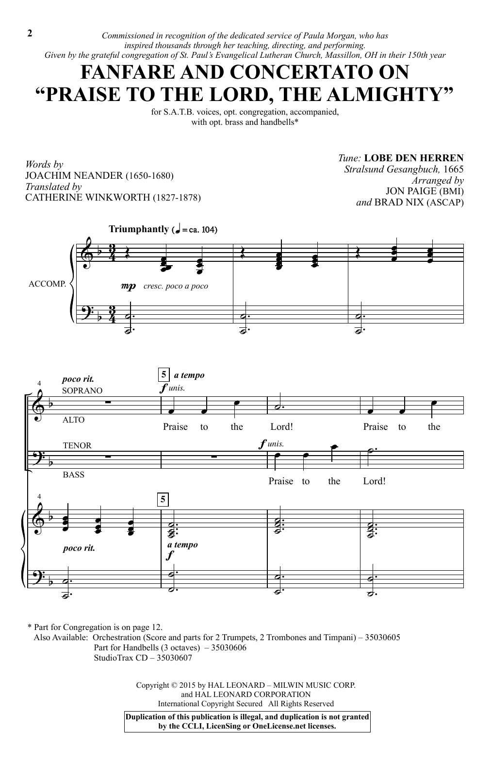Brad Nix Praise To The Lord, The Almighty sheet music notes and chords. Download Printable PDF.