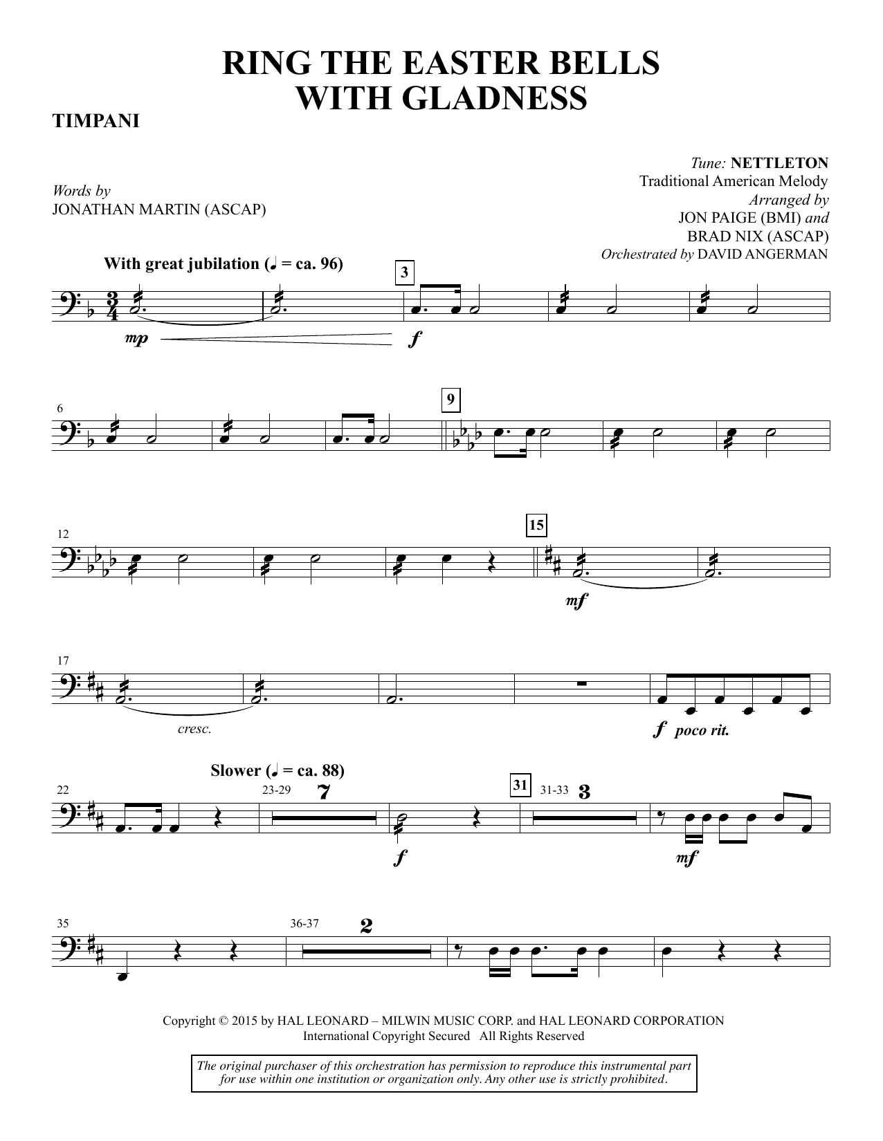 Brad Nix Ring the Easter Bells with Gladness - Timpani sheet music notes and chords. Download Printable PDF.