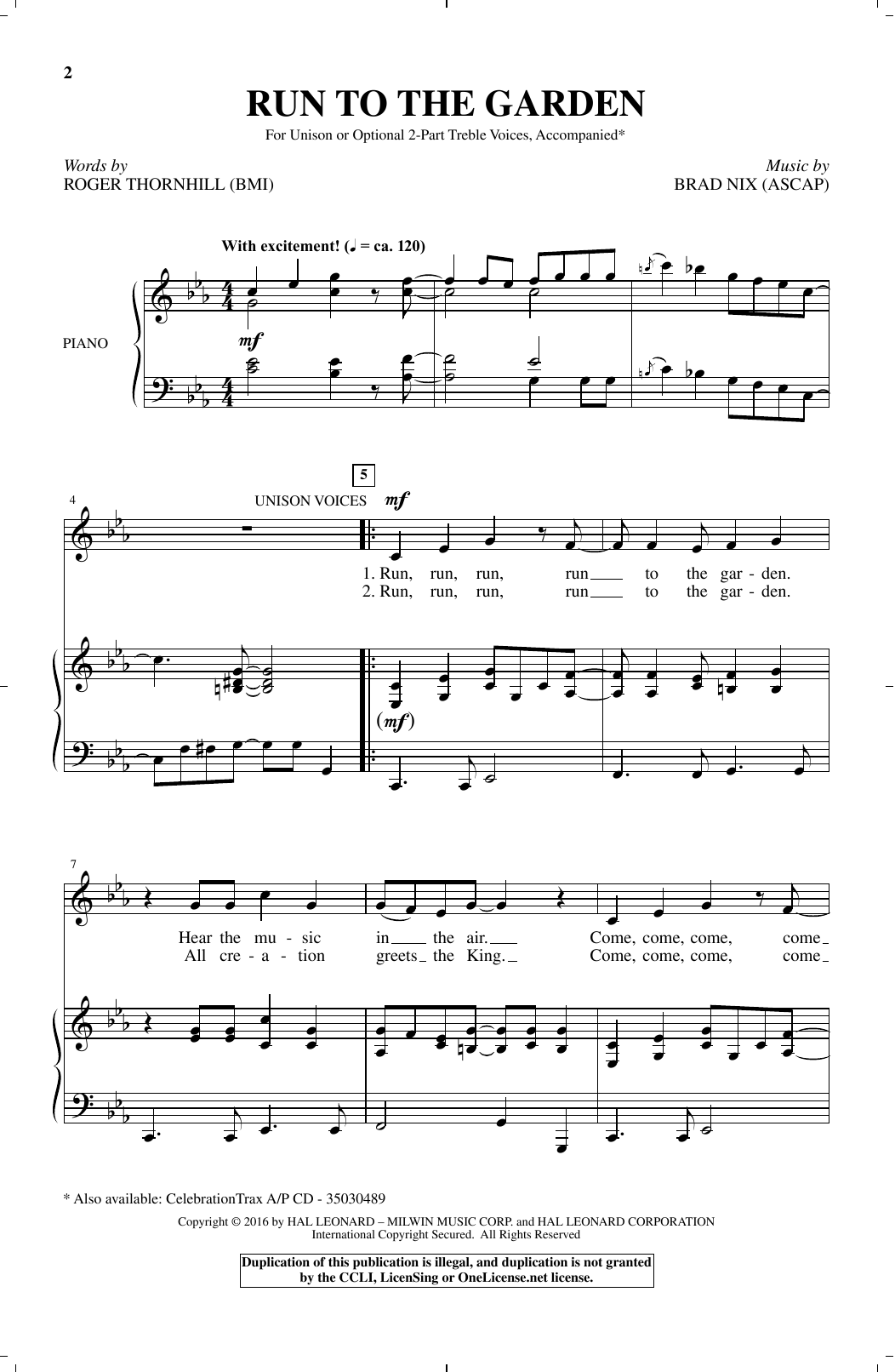 Brad Nix Run To The Garden sheet music notes and chords. Download Printable PDF.