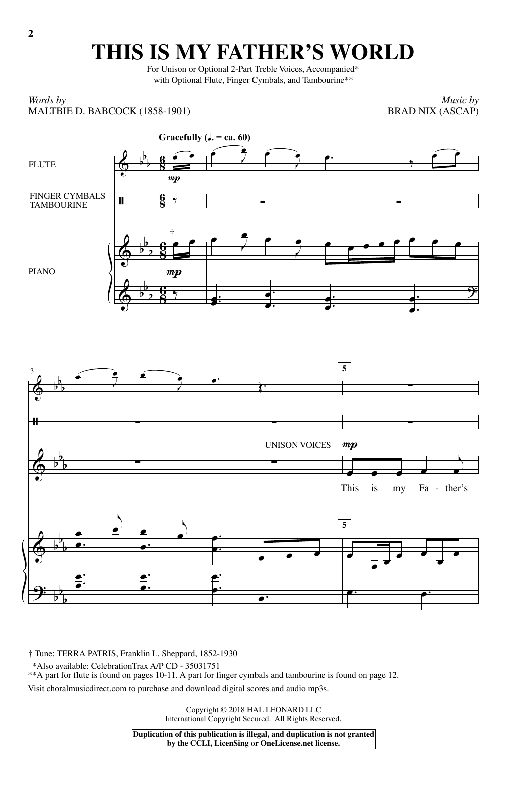 Brad Nix This Is My Father's World sheet music notes and chords. Download Printable PDF.