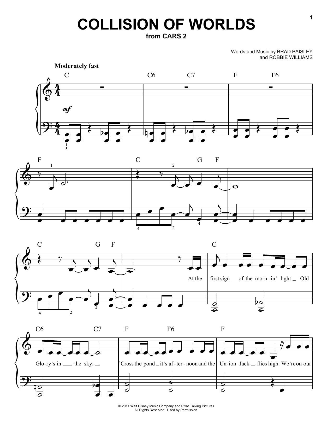 Brad Paisley Collision Of Worlds sheet music notes and chords. Download Printable PDF.