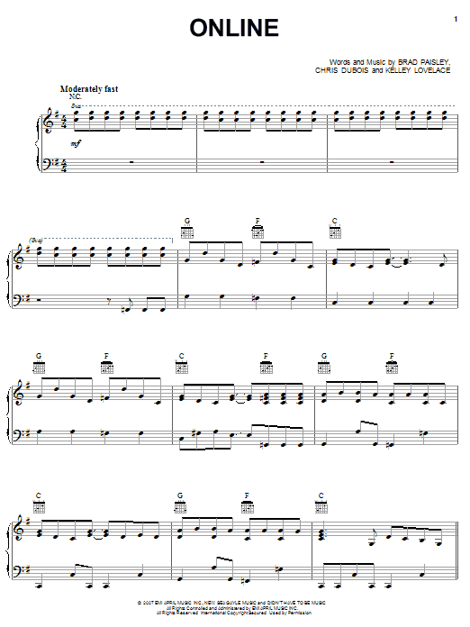 Brad Paisley Online sheet music notes and chords. Download Printable PDF.