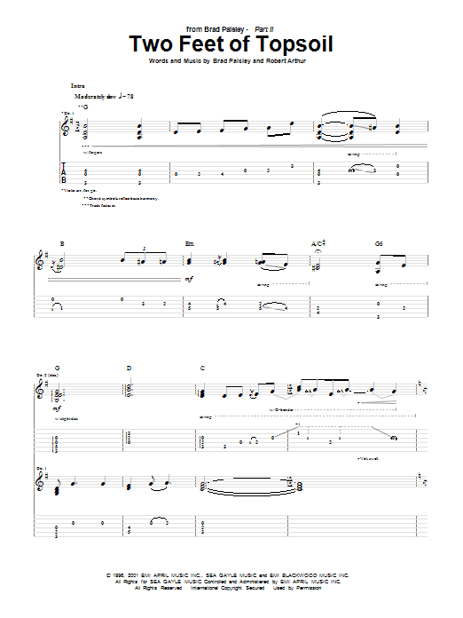 Brad Paisley Two Feet Of Topsoil sheet music notes and chords
