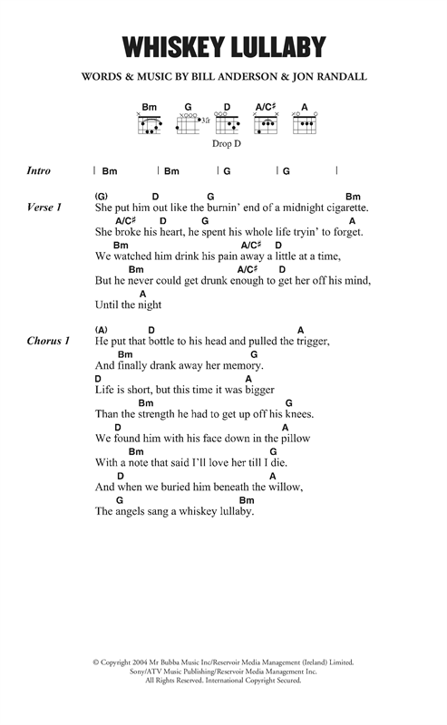 Brad Paisley Whiskey Lullaby (feat. Alison Krauss) sheet music notes and chords. Download Printable PDF.