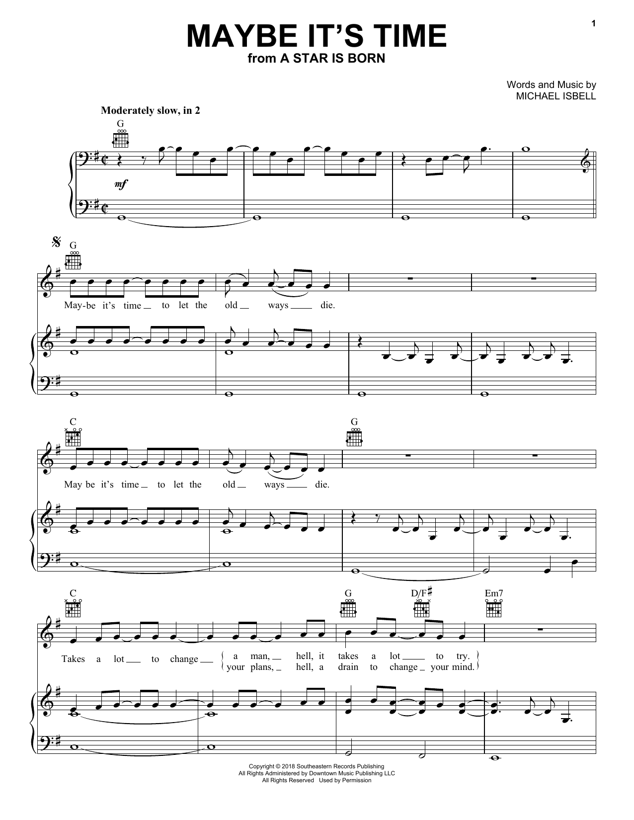 Bradley Cooper Maybe It's Time (from A Star Is Born) sheet music notes and chords. Download Printable PDF.
