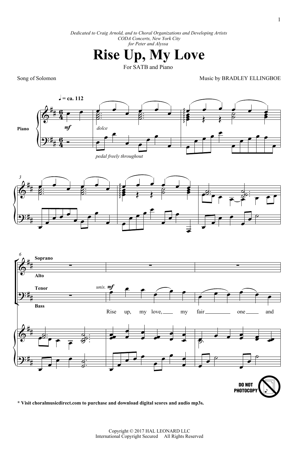 Bradley Ellingboe Rise Up, My Love sheet music notes and chords