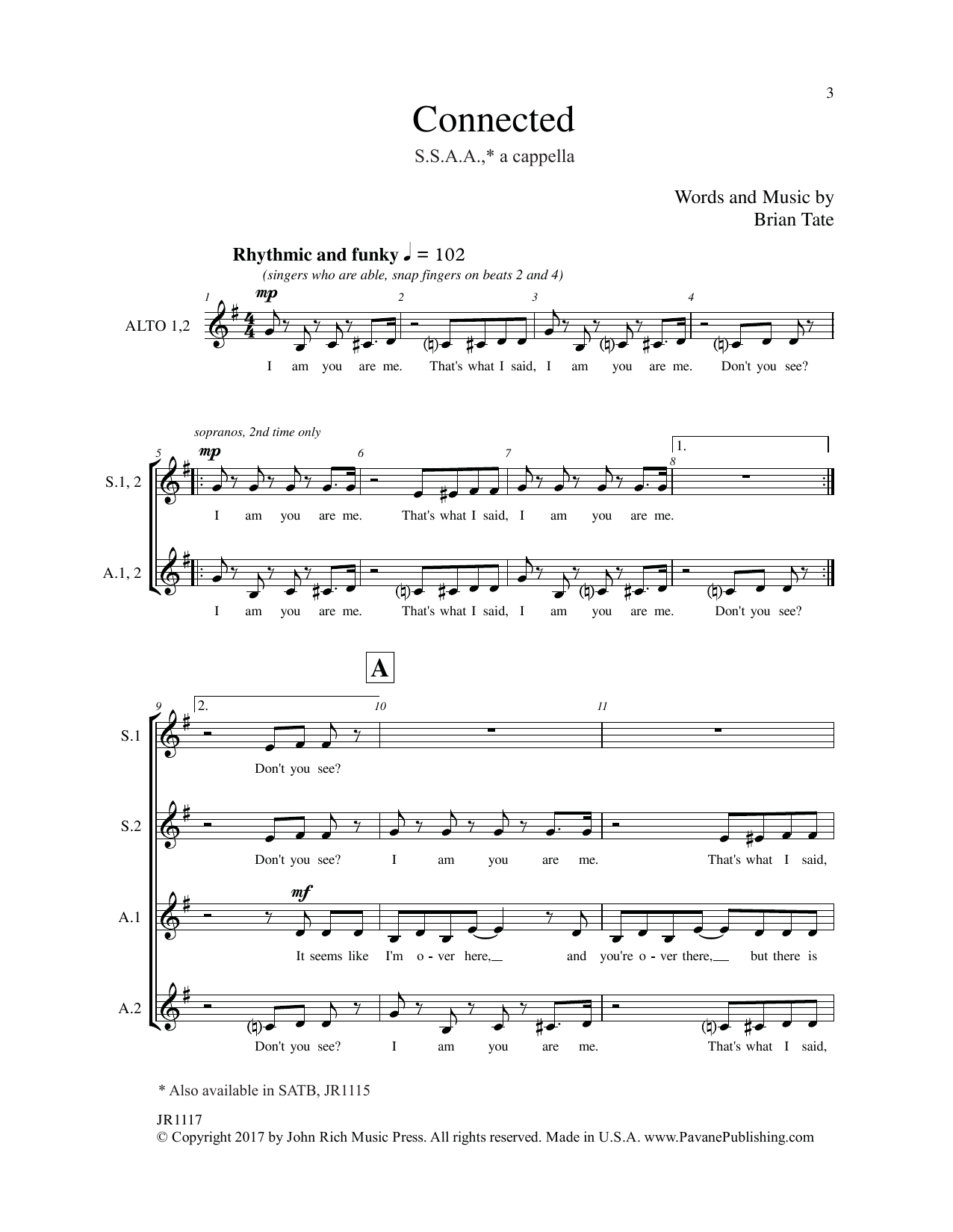 Brain Tate Connected sheet music notes and chords. Download Printable PDF.
