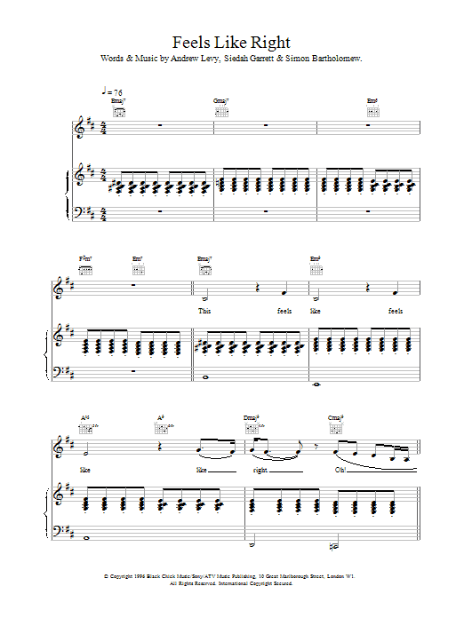 The Brand New Heavies Feels Like Right sheet music notes and chords. Download Printable PDF.
