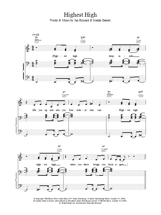 The Brand New Heavies Highest High sheet music notes and chords. Download Printable PDF.