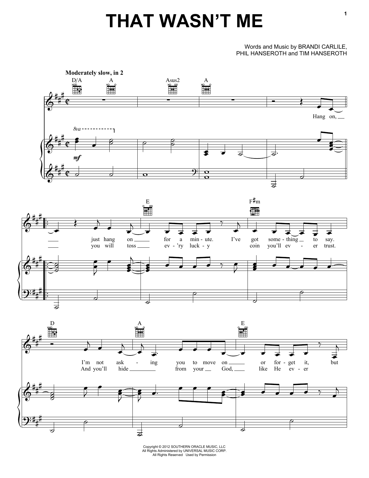 Brandi Carlile That Wasn't Me sheet music notes and chords. Download Printable PDF.