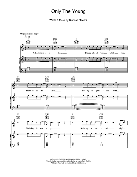 Brandon Flowers Only The Young sheet music notes and chords. Download Printable PDF.