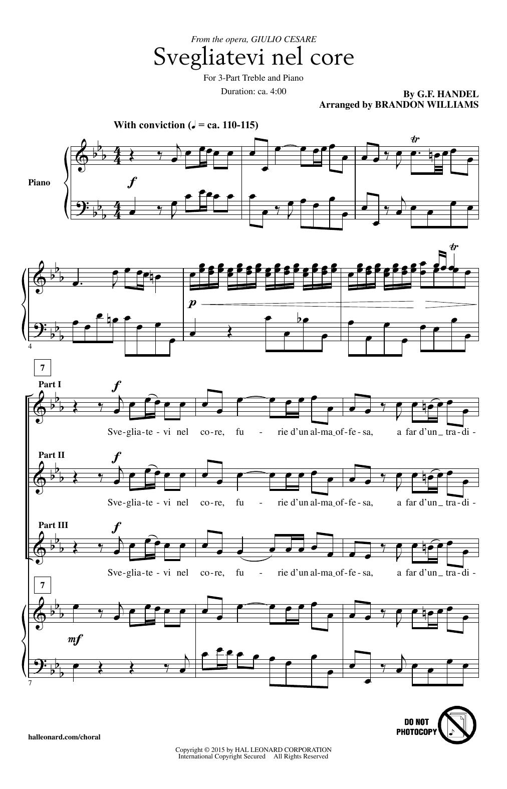 Brandon Williams Svegliatevi Nel Core sheet music notes and chords. Download Printable PDF.
