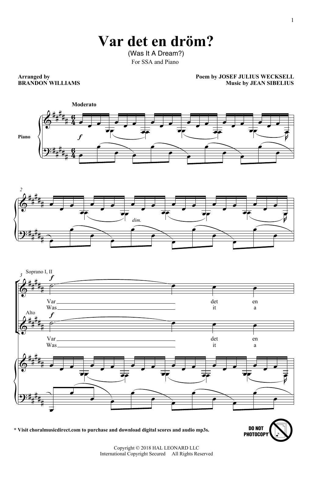 Brandon Williams Var Det En Drom? sheet music notes and chords