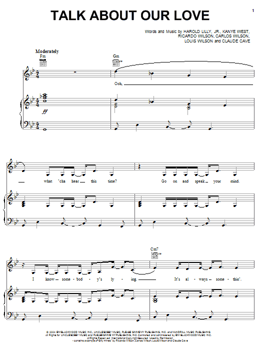 Brandy Talk About Our Love (feat. Kanye West) sheet music notes and chords. Download Printable PDF.