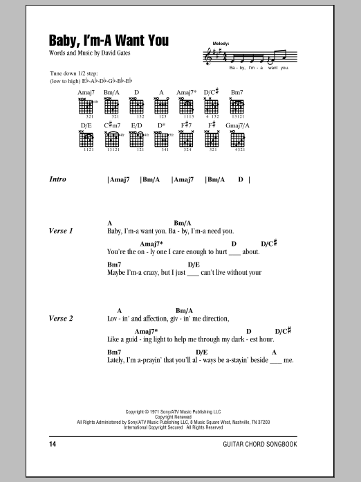 Bread Baby, I'm-A Want You sheet music notes and chords. Download Printable PDF.