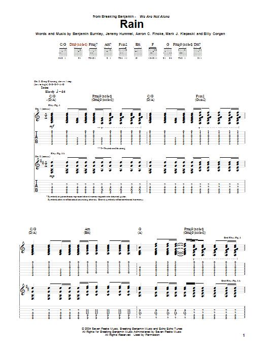 Breaking Benjamin Rain Sheet Music Pdf Notes Chords Metal Score Guitar Tab Download Printable Sku 31406