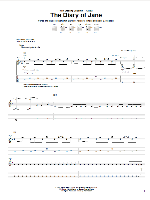 Breaking Benjamin The Diary Of Jane sheet music notes and chords. Download Printable PDF.