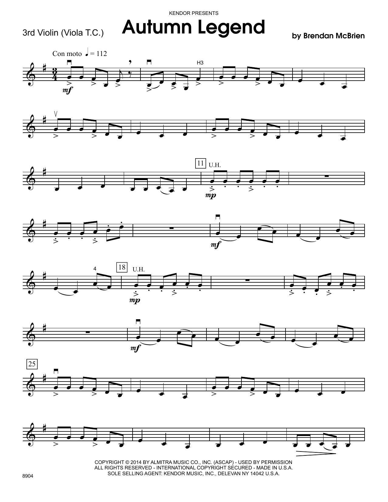 Brendan McBrien Autumn Legend - 3rd Violin sheet music notes and chords. Download Printable PDF.