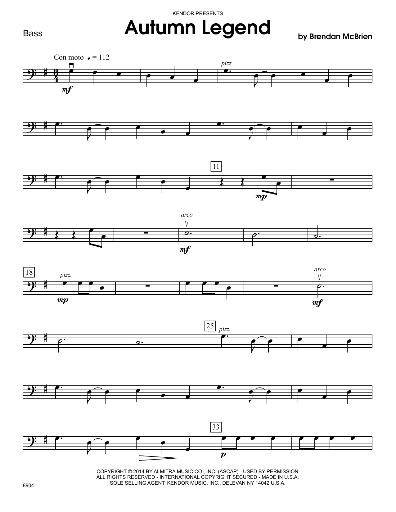 Brendan McBrien Autumn Legend - Bass sheet music notes and chords. Download Printable PDF.