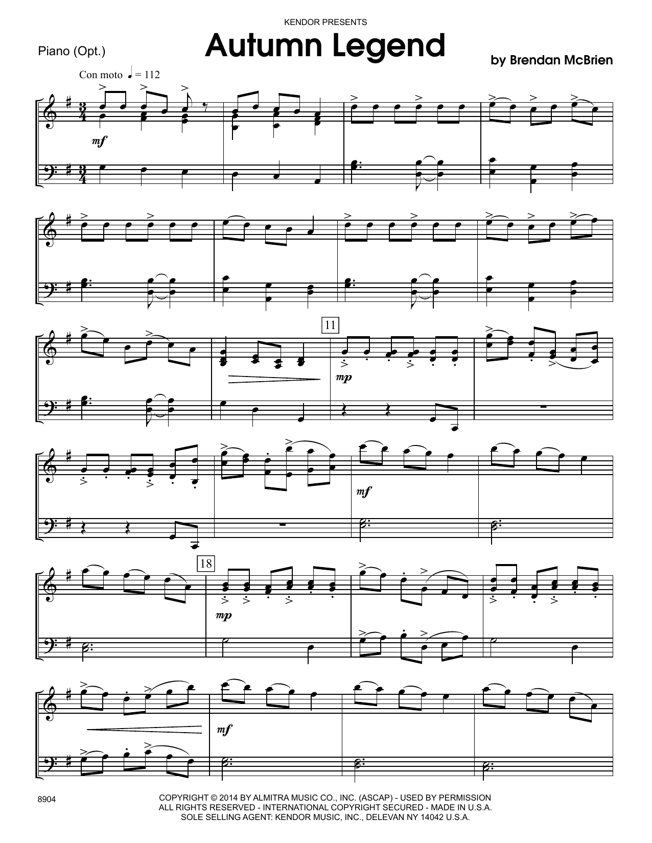 Brendan McBrien Autumn Legend - Piano Accompaniment sheet music notes and chords. Download Printable PDF.
