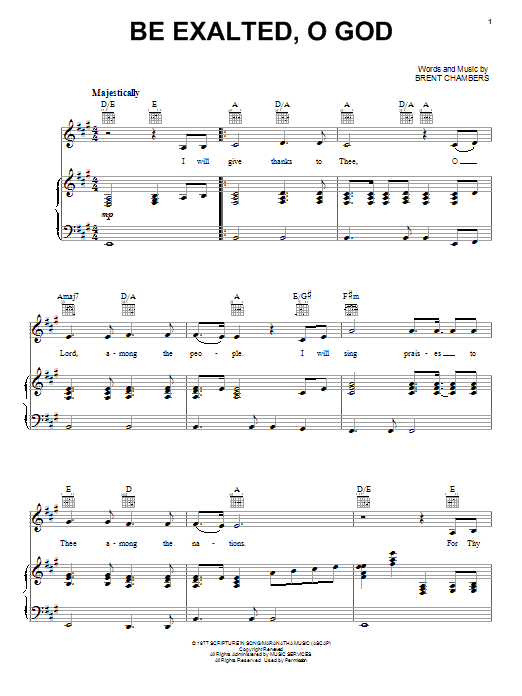 Brent Chambers Be Exalted, O God sheet music notes and chords. Download Printable PDF.