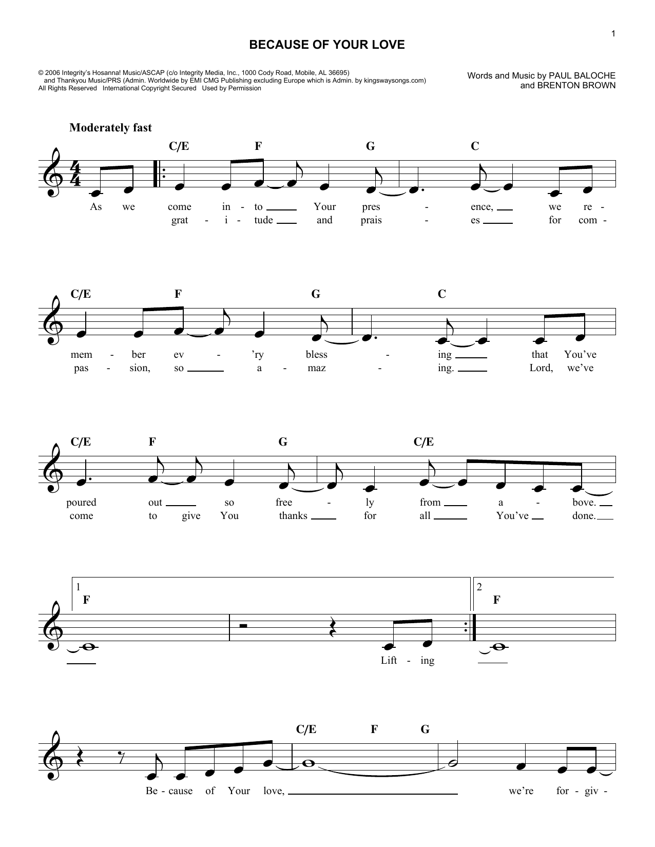 Brenton Brown Because Of Your Love sheet music notes and chords. Download Printable PDF.