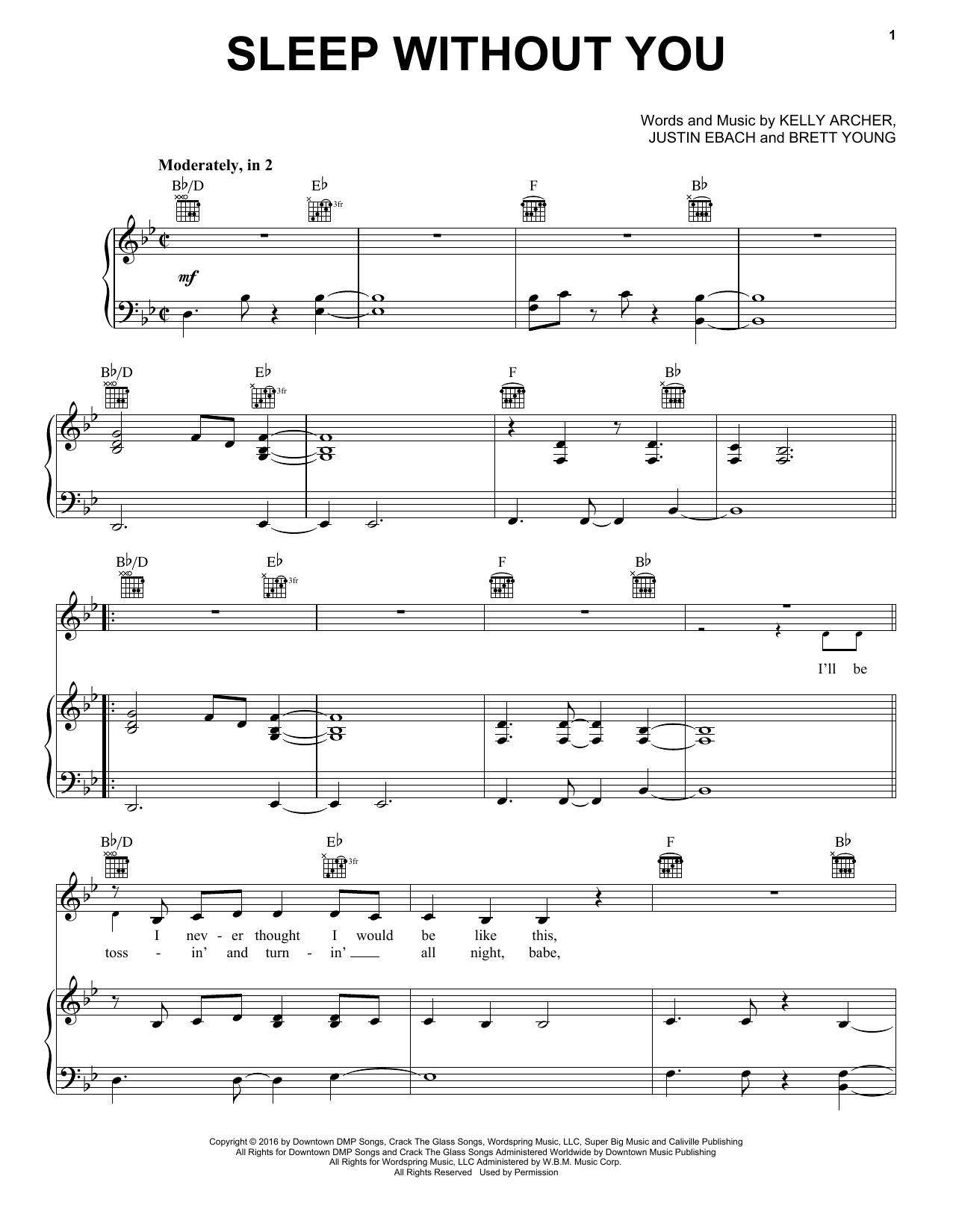Brett Young Sleep Without You sheet music notes and chords. Download Printable PDF.