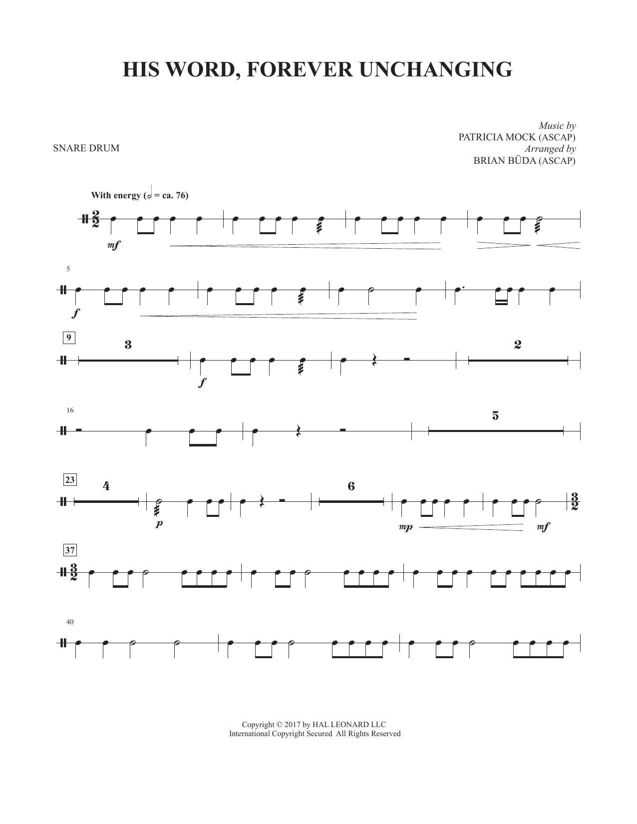 Brian Buda His Word, Forever Unchanging - Snare Drum sheet music notes and chords. Download Printable PDF.
