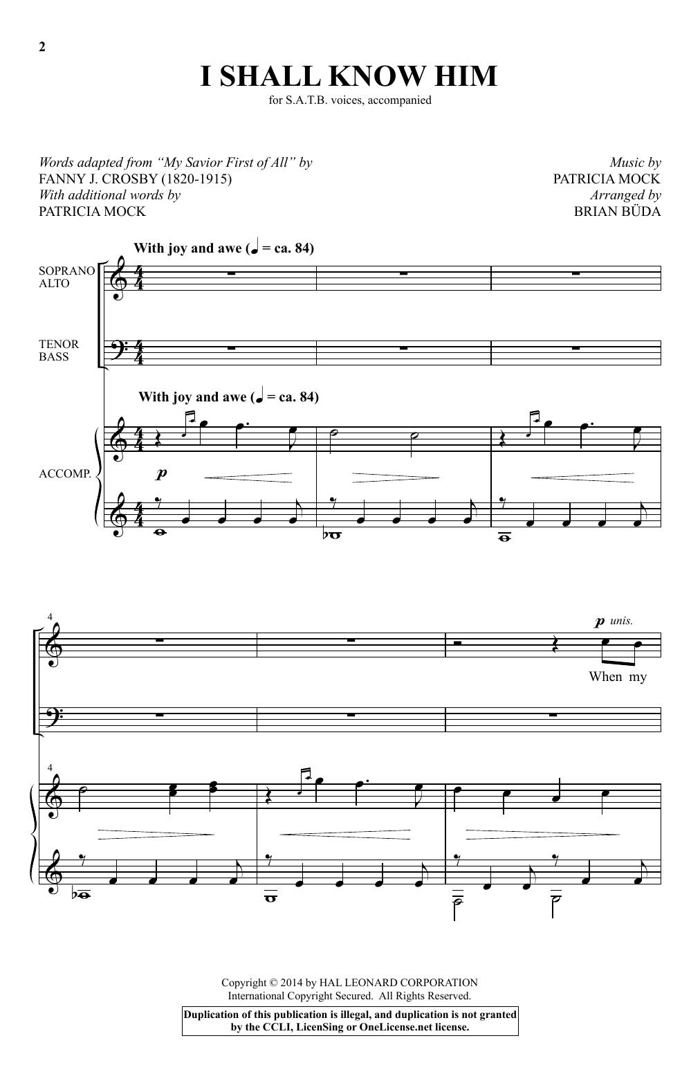 Brian Buda I Shall Know Him sheet music notes and chords. Download Printable PDF.