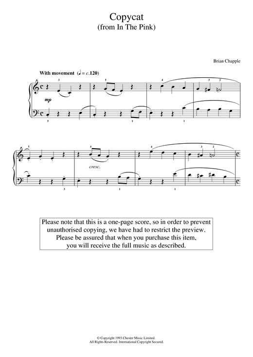 Brian Chapple Copycat (from In The Pink) sheet music notes and chords. Download Printable PDF.