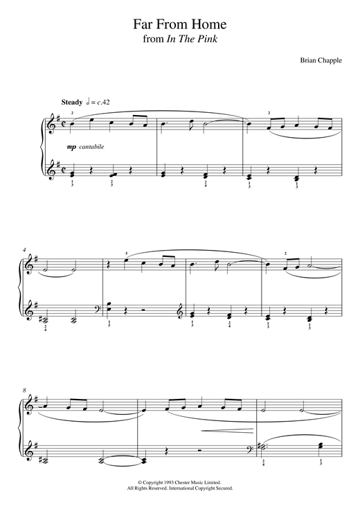 Brian Chapple Far From Home (From In The Pink) sheet music notes and chords. Download Printable PDF.