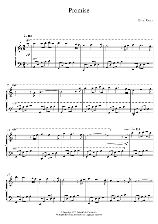 Brian Crain Promise sheet music notes and chords. Download Printable PDF.